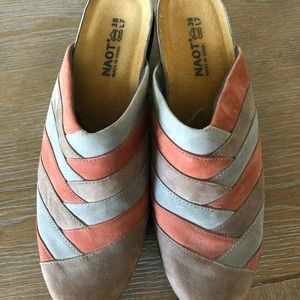 Naot multi suede slides shoes mules size 38